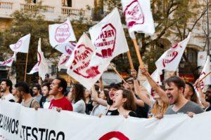El Frente de Estudiantes-Madrid el pasado 8 de mayo en defensa de una educación pública, gratuita y de calidad.